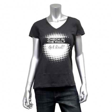 "Women's V Neck ""Check In The Mail"" T-Shirt"