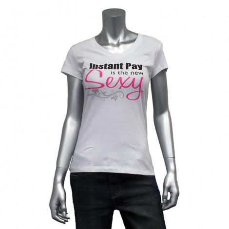 "Women's V Neck ""Instant Pay is the New Sexy"" T-Shirt"