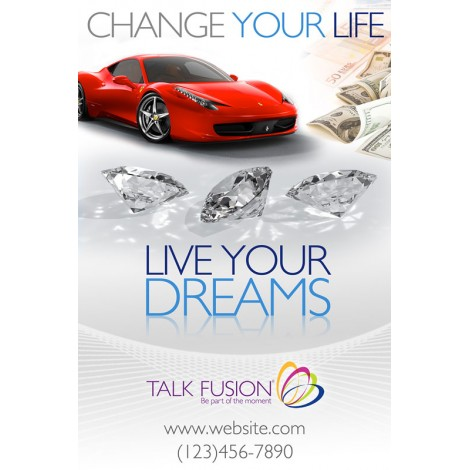 """Change Your Life, Live Your Dreams"" Customizable 12"" x 18"" Poster"